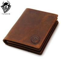 2016 Vintage Crazy Horse Handmade Leather Men Wallets Multi Functional Cowhide Coin Purse Genuine Leather Wallet