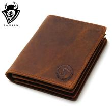 2018 Vintage Crazy Horse Handmade Leather Men Wallets Multi-Functional Cowhide Coin Purse Genuine Leather Wallet For Men