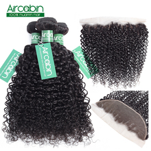 Aircabin Kinky Curly Bundles With Frontal Brazilian Hair Weave Bundles With Closure 100 Human Hair Bundles With Closure Non Remy