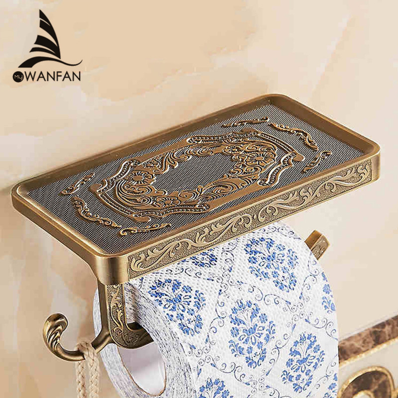 Wholesale And Retail Antique Carving Toilet Roll Paper Rack Wiht Phone Shelf Wall Mounted Bathroom Paper Holder And Hook St 1018