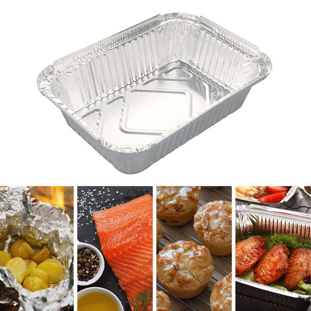 30pcs 850ml Disposable BBQ Drip Pan Tray Aluminum Foil Tin Liners for Grease Catch Pans Replacement Liner Trays with Cover