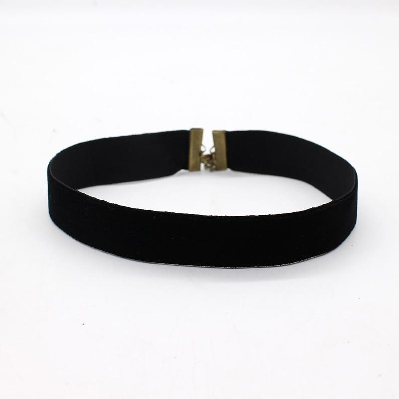 Женское Ожерелье-чокер из черного бархата, Готическая цепочка из простой ленты в стиле ретро, 2019