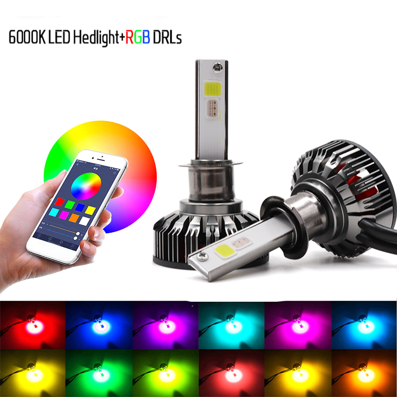 Pair H7 RGB LED Headlight H1 APP Bluetooth Control H3 H4 H8 H11 Multi Colors LED Bulbs 9005 9006 For Camry Ford BMW