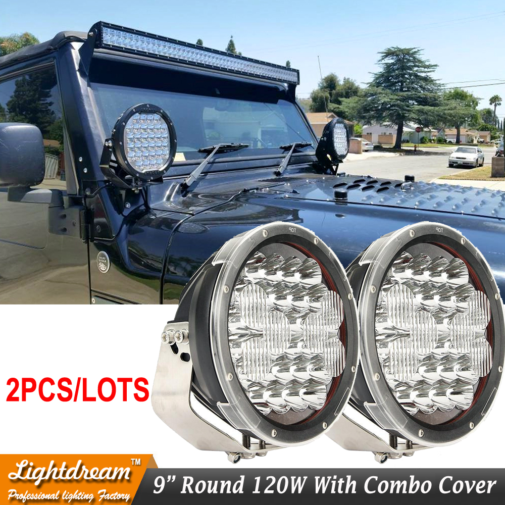 Pair of 9 inch 150W Off-Road LED Work Lights 12v 24v Led 4x4 4WD RZR ATV Truck SUV Car Pick-Up Led Driving Lights Free shipping