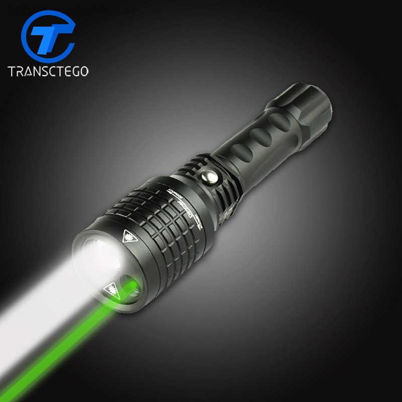 18650 לפיד נטענת פנס אור led כפול אור ירוק אור לייזר אינפרא אדום רב תכליתי lanterna tatical זום