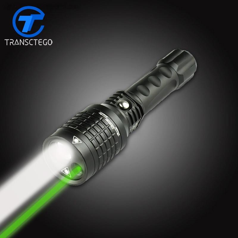 Lampe de poche led double lumière 18650 torche rechargeable multifonctionnel lumière verte infrarouge laser lumière lanterne tatique zoom