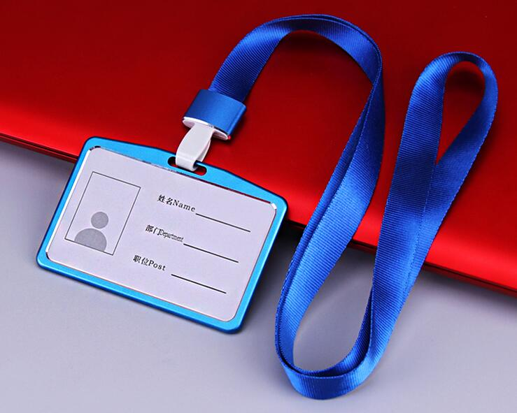 1pcs Best Quality Horizontal Aluminum Alloy Card Holder ID Business Badge Holder With Lanyard Strap Free Shipping
