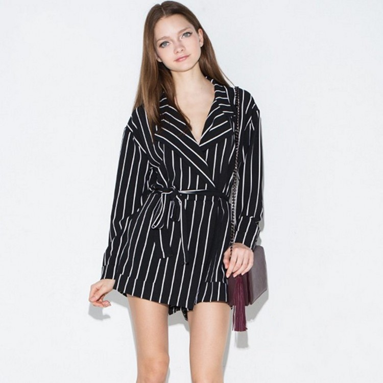 Panties White Suit-Collar Lace Long-Sleeve Black Stripes Women Summer And Splicing Waist-Spring