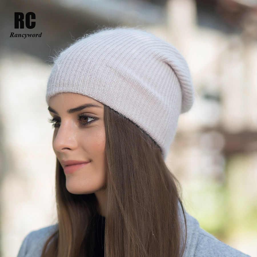 [Rancyword] قبعات شتوية عالية الجودة للنساء من الكشمير بينيس ليديس قبعات من الصوف المحبوك الأنجورا Pompom Gorros RC1226
