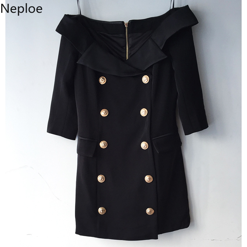 Nepole Cerniera Abbottonatura Slash Neck Grazia Vestito Doppio Petto Button Cool Girl Vestido 2020 Primavera Estate Tasca Modis Jupe 42729 - 2