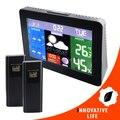 RCC DCF77 Monitor de Temperatura Digital de la Estación Meteorológica de interior Al Aire Libre Termómetro HUMEDAD RELATIVA % 2 Wireless Sensor de Presión Barométrica