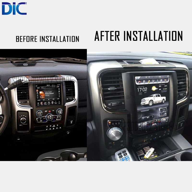 DLC Android vertical screen 6.0 navigation video player GPS multifunction canbus video mirror link wifi For Dodge ram 2014-2017