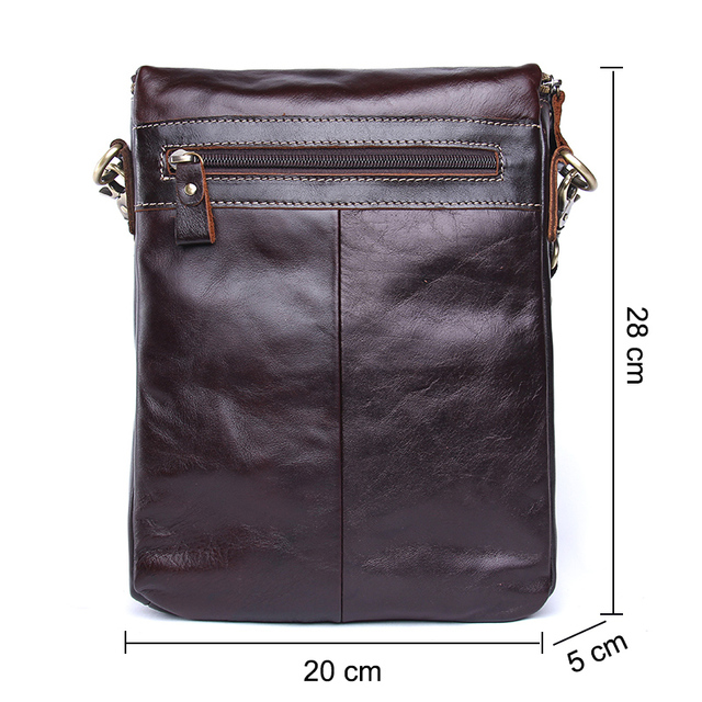 CONTACT'S HOT!! 2019 Genuine Leather Bags Men High Quality Messenger Bags Small Travel Dark Brown Crossbody Shoulder Bag For Men 2