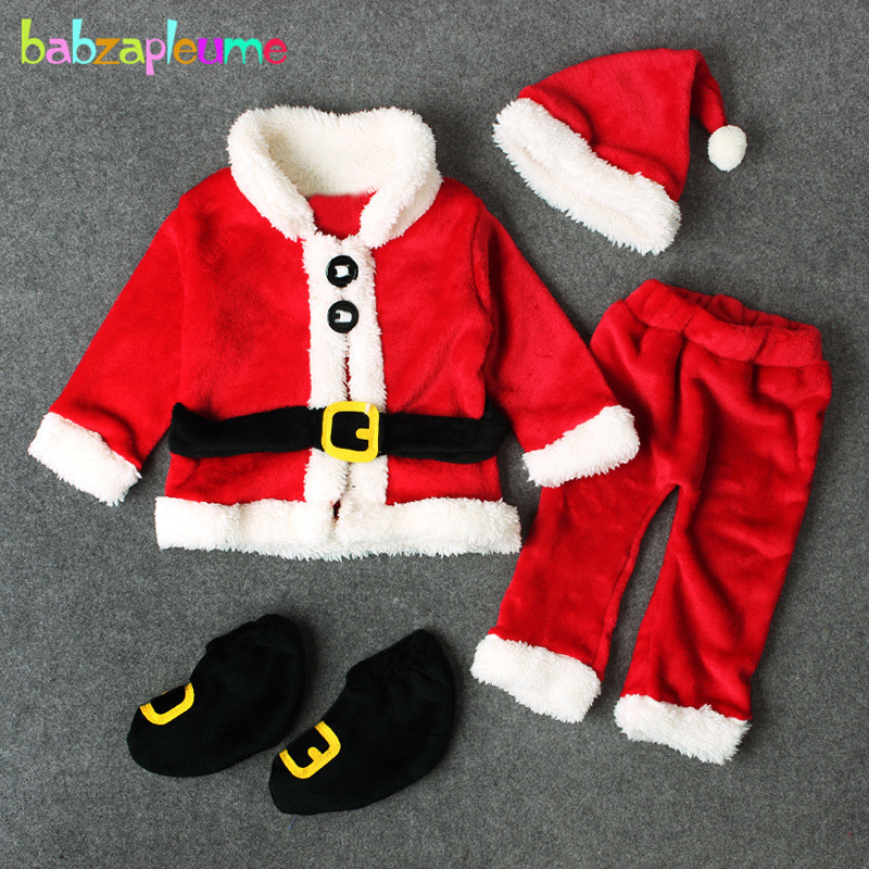 4PCS/3-24Months/Christmas Santa Claus Outfit Newborn Clothing Sets Winter Fleece Tops+Pants+Hats+Socks Baby Boys Clothes BC1035