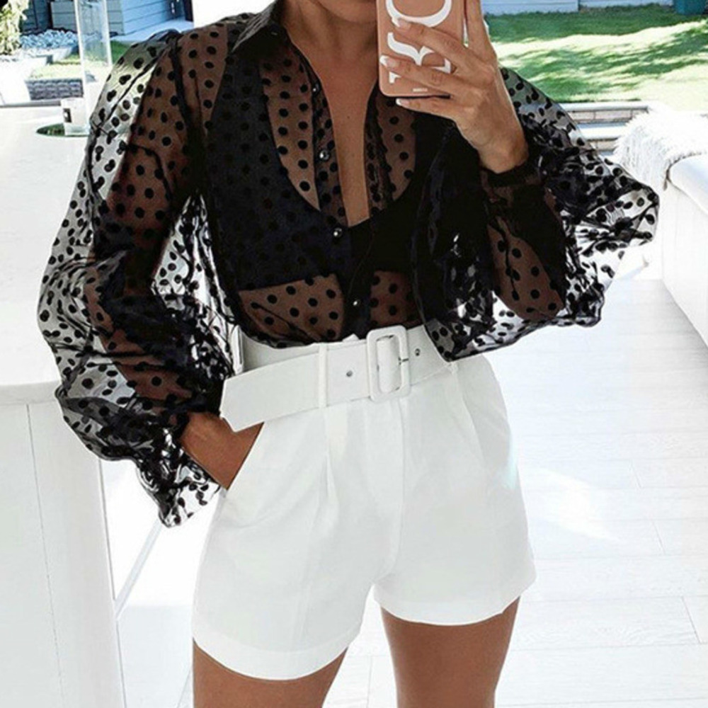 Women Loose Lace Puff Sleeve Top Blouse Mesh Shirt 2019 Summer Ladies Long Sleeve Black Dot Transparent Sexy Vintage Shirt