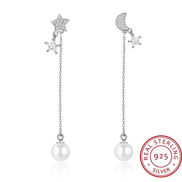 100 925 Sterling Silver Moon Star Earrings For Woman Rhinestone Long Dangle Pearl Punk