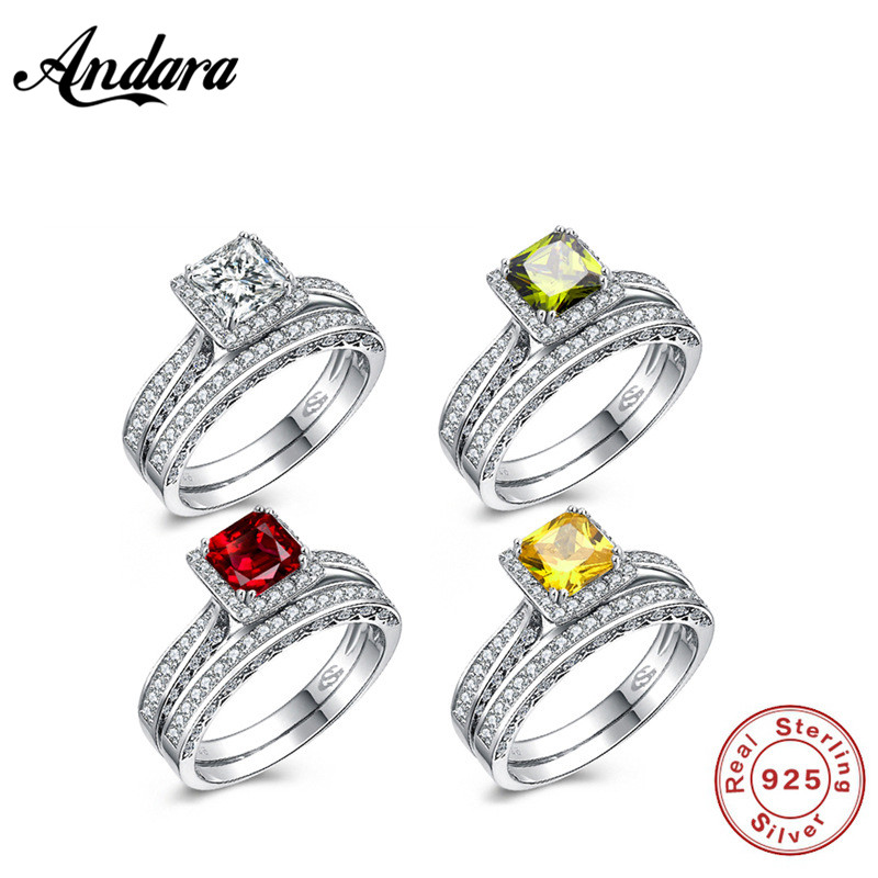 4 color Solid 925 Sterling Silver 2-Pcs Wedding Engagement Ring Set 1 Ct Princess Cut Jewelry