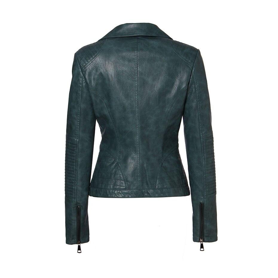 AORRYVLA 2019 Nouveau Printemps Femmes Faux veste en cuir De Mode Noir Couleur Turn-Down Col Courtes Fermetures Dames PU veste en cuir - 6