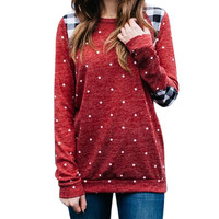 NEW Women Casual Pullovers Fashion Polka Dot Printed Autumn Sweatshirt Ladies Kawaii Plaid Patchwork Tops Shirts