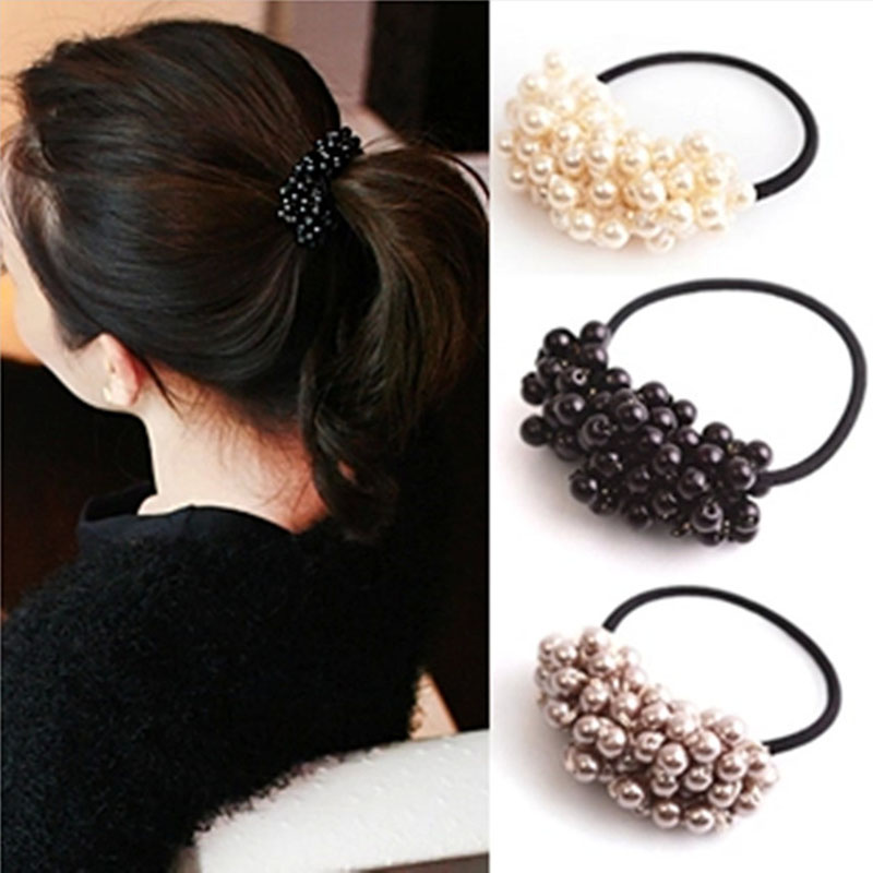 Korean Faux Pearl Elastic Hair Rubber Band Hair Accessories for Women Girls Ponytail Holder Hair Ties Headdress Headbands noble faux pearl flower elastic hair band for women