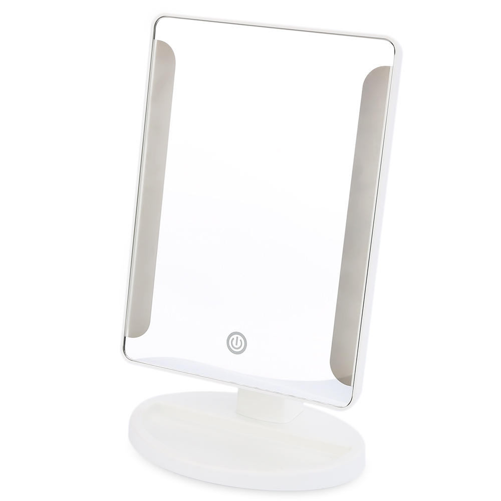 Newest Plastic Rectangle Shape 36 LED USB Power Portable Folding Toilet Lighted Cosmetic Mirror Can Stand In A Flat Position