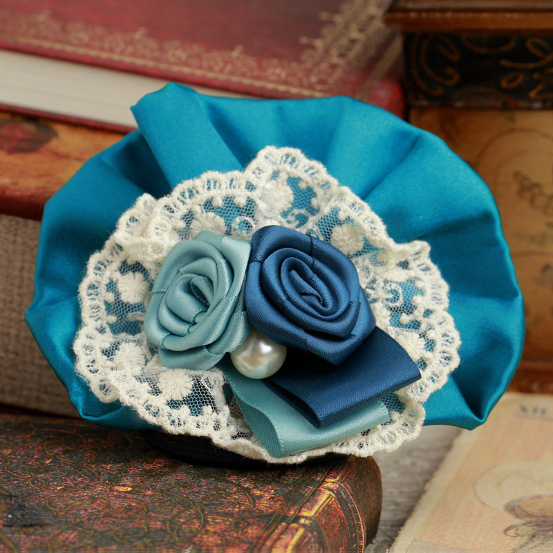 Special Blue Handmade Silk Hair Band Free Shipping Lace Flower Hair Accessories Wholesale For Girl Women FS01A21GM3