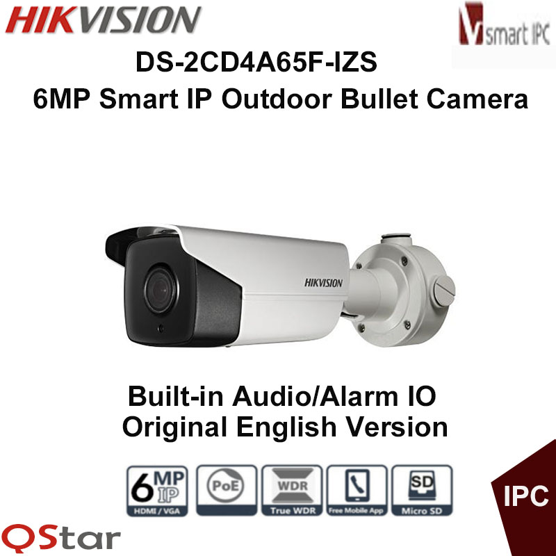 Hikvision Original English Version DS-2CD4A65F-IZS 6MP Smart IP Outdoor Bullet Camera Support 128G storage POE CCTV Camera hikvision ds 2cd2642fwd izs original english version 4mp ip camera 2 8 12mm 4x motorized zoom support ezviz poe ir audio ip66