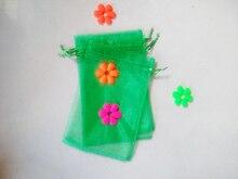 1000 unids Hierba verde del regalo del organza bolsas 10×15 cm bolsos de fiesta para las mujeres evento casarse Con Cordón bolsa de La Joyería pantalla Bolsa de accesorios de bricolaje