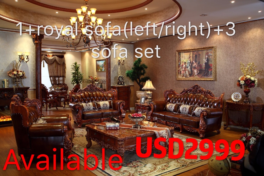 US $3162.0 |luxury italian red oak solid wood leather sofas living room  furniture sets from China PRF3027-in Living Room Sofas from Furniture on ...