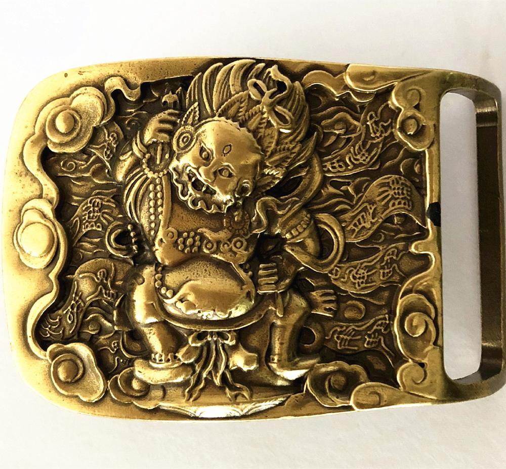 Vintage Antique Pure Brass Copper Big Belt Buckle Devil From Hell Cowboy Mens Fashion Gift