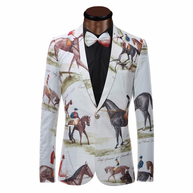 4e7315b02c4 Brand New Blazer Men Riding Horse Print Suit Jacket Slim Fit Casual Stage  Wear Fashion Mens