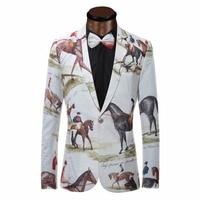 Brand New Blazer Men Riding Horse Print Suit Jacket Slim Fit Casual Stage Wear Fashion Mens