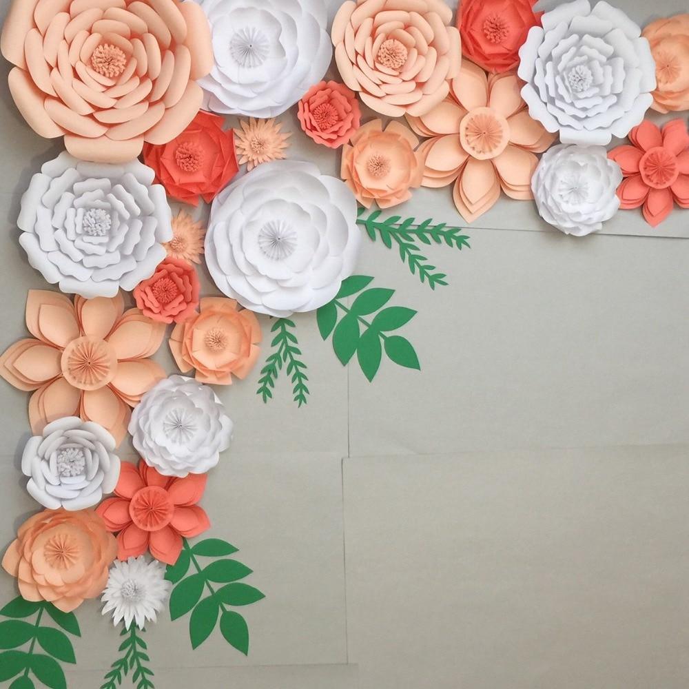 Fengrise 2pcs 20cm Diy Paper Flowers Backdrop Decorative Artificial
