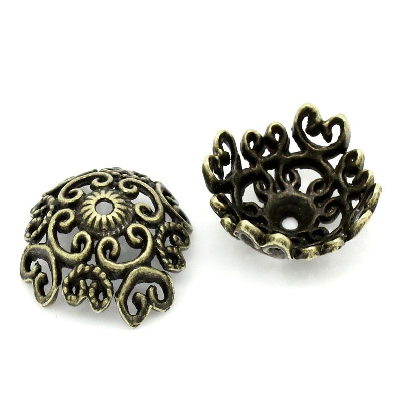 DoreenBeads Zinc Metal Alloy Beads Caps Flower Antique Bronze(Fits 22mm Beads)Flower Hollow Pattern 18mm X 18mm ,5 PCs 2015 New