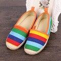 Осень скольжение на дети обувь свободного покроя кроссовки девочки обувь полоска мокасины дети обувь конфеты цвет лежа брезент обувь