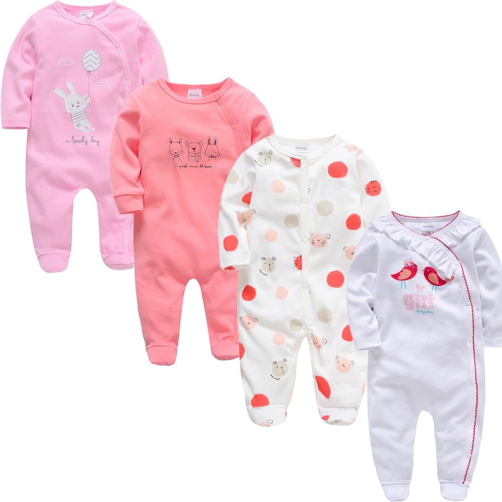 2019 3 4 pcs/lot Summer Baby Boy roupa de bebes Newborn Jumpsuit Long Sleeve Cotton Pajamas 0-12 Months Rompers Baby Clothes