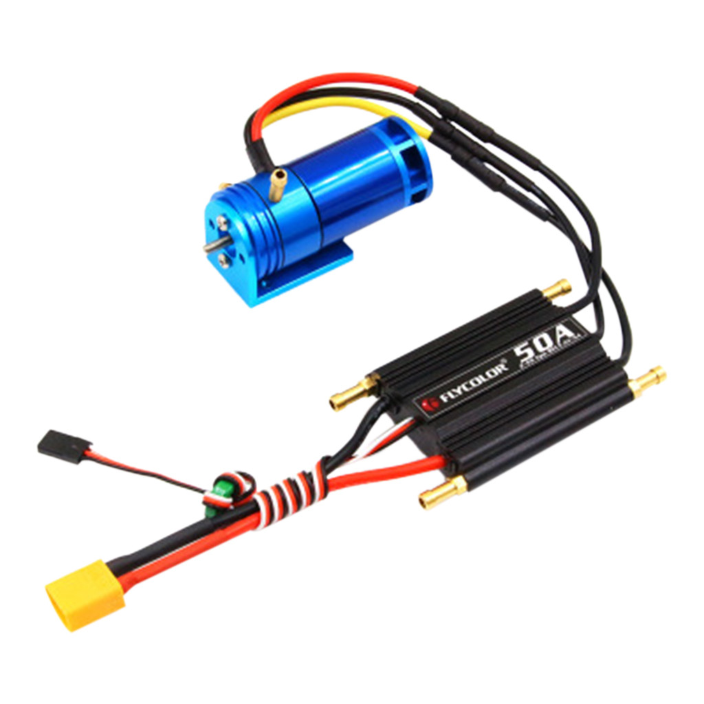 2 4S 2862 2800KV Water Cooled Brushless Outrunner Motor+50A ESC For RC Boat practical and convenient Remote control toy parts-in Parts & Accessories from Toys & Hobbies