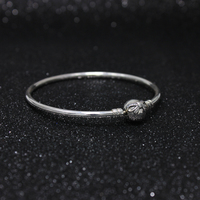 ROCKART Solid 925 Sterling Silver New Crystal Bow Clasp Charms Bangle with Clean CZ Fashion Original Bracelets for DIY Jewelry