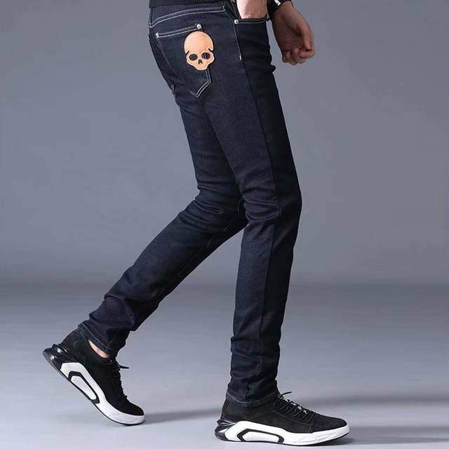 Black Pants With Zipper Nen Trousers Boy Plus Size Pants Men Jeans Long Trousers Men 2019 Winter Jeans Denim Long Trousers Male