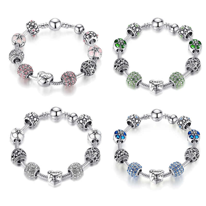 Hot Sale Amour Heart Love Amor Silver Charm Beads bracelet for Women Fashion DIY Jewelry Original Bracelets Gift SDP1455