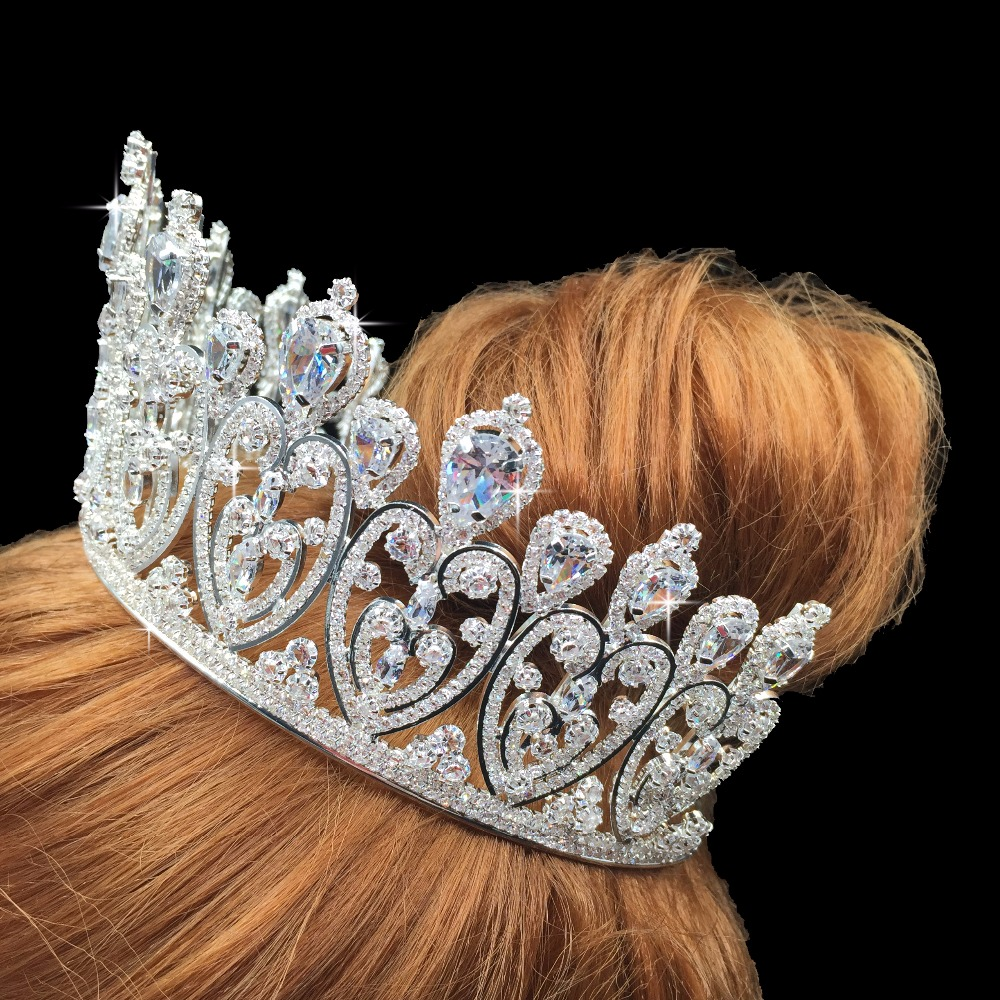Crown Hadiyana Sparkling Crystal Heart Bridal Crown Hair Ornaments For Women New Tiaras Big Wedding Hair Jewelry Crowns BC3676-in Hair Jewelry from Jewelry & Accessories    3
