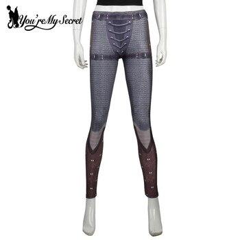 [You're My Secret] Retro Mesh Legging Women Armor Comic Cosplay Slim Leggings Women Digital Print Leggins Workout Fitness Pants 6