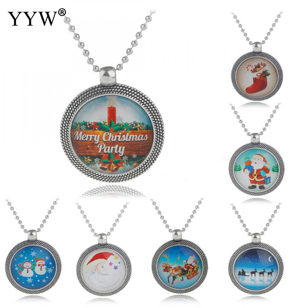 New Punk Girl Christmas Santa Claus Chain Necklace Collares Bijoux For Women Jewelry Pendant Gift kolye