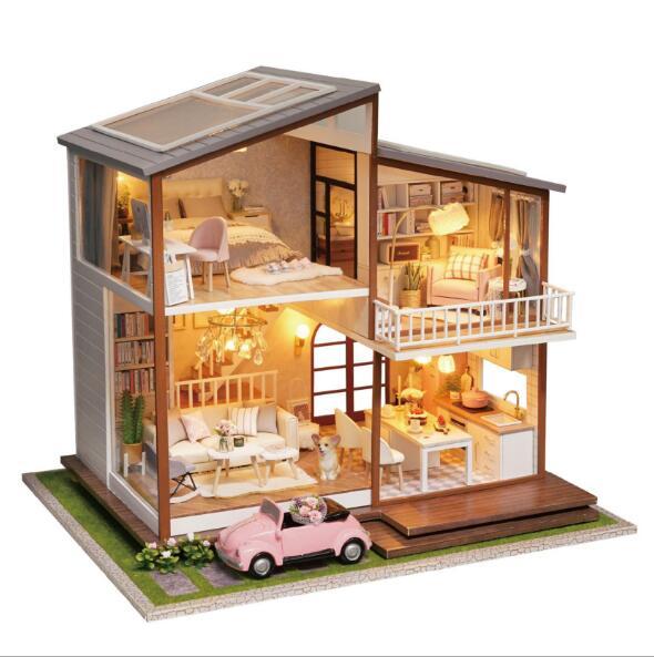 A080 GROßE größe Puppe Haus holz Casa Diy Miniatur Puppenhaus Mit Staub Abdeckung Möbel Musik spielzeug für kinder Geburtstag Geschenk-in Puppenhäuser aus Spielzeug und Hobbys bei  Gruppe 1