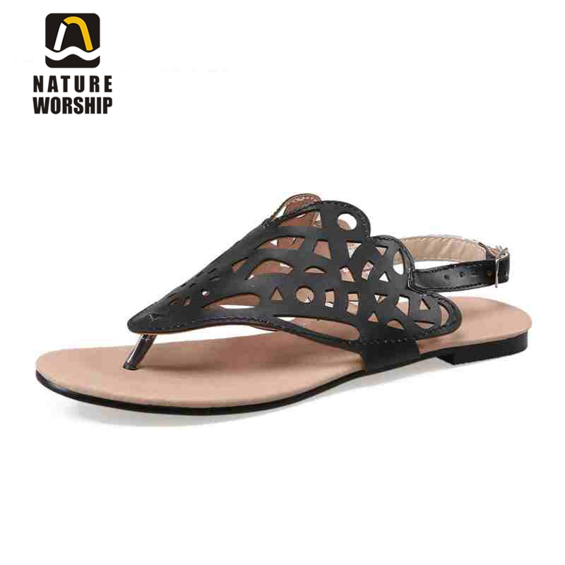 New fashion Soft Leather Gladiator flats sandals Retro Rome style Cut-Outs Casual women shoes Fretwork Buckle Solid Summer shoes new fashion 2016 summer korean style woman flats cut outs breathable bowtie flat single shoes sweet concise casual flats st385