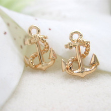 10PCS 8x11.5MM 24K Champagne Gold Color Plated Brass Anchor Charms Pendants High Quality Diy Jewelry Accessories