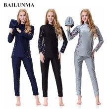 Muslim Swimsuit Islamic swim wear Women Burkinis Wear Bathing Suit Modest swimwear Patchwork Full Cover Long Sleeve B1008