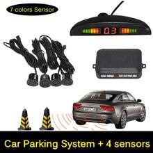 12V LED Car Parking Sensor Monitor Auto Reverse Backup Radar Detector System + LED Display + 4 Sensors + Black + Silver