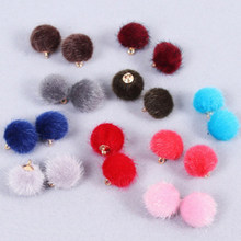 Pingente de pelúcia para fazer jóias, pingente de bolas encantadoras de pompom diy, colar de pelúcia coberto com miçangas, brinco e pulseira 10 pçs/lote