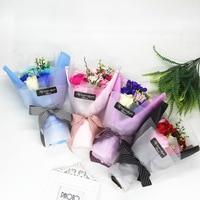 バレンタインデー11ローズソープフラワー保持花束誕生日ギフト母の日の結婚式の装飾贈り